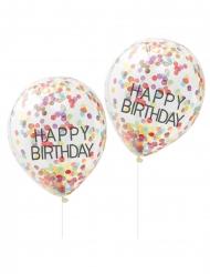 5 Palloncini in lattice Happy Birthday con coriandoli