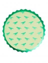 8 Piatti di carta con dinosauro verde metallizzato