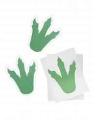 6 adesivi impronte di dinosauro verde 18 cm