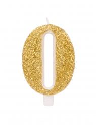Candelina di compleanno cifre dorate con paillettes