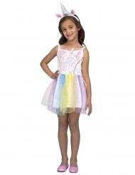 Costume vestito da unicorno arcobaleno per bambina