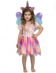 Costume da unicorno con tutu arcobaleno per bambina