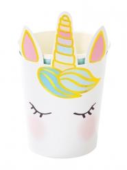 8 Bicchieri in cartone unicorno bianco