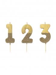 Candela dorata con paillettes numero