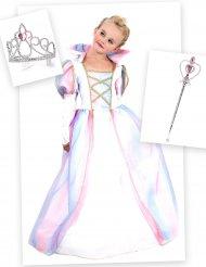Set Costume principessa per bambina con corona e bacchetta