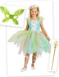 Set Costume da fatina verde per bambina con ali e bacchetta