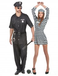 Costume coppia poliziotto e prigioniera per adulto