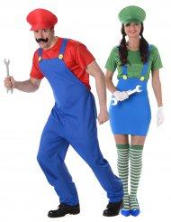 Costume coppia di idraulici verde e rosso per adulto