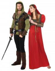 Costume coppia uomo dei boschi e principessa medievale
