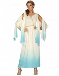 Costume da dea greca azzurro e bianco per donna