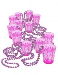 12 collane rosa con bicchieri da shot