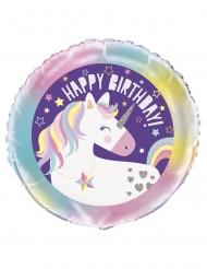 Palloncino alluminio happy birthday unicorno 45 cm