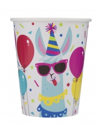 8 Bicchieri di carta Compleanno Lama