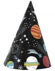 8 Cappellini da festa in cartone universo nero