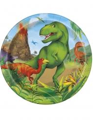 8 piatti piccoli in cartone dinosauri 18 cm