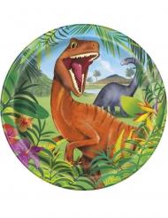 8 Piatti in cartone Dinosauri 23 cm