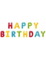 Ghirlanda lettere colorate Happy Birthday 2.74 m
