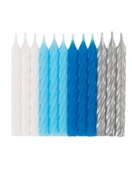 24 candele di compleanno a spirale blu bianche e argento