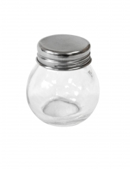 Mini vasetto in vetro rotondo con coperchio in metallo 5 cm