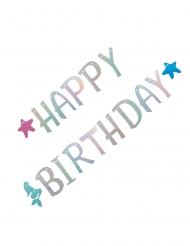 Ghirlanda in cartone sirena happy birthday olografico