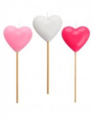 3 Candeline a forma di cuore rosa e bianco