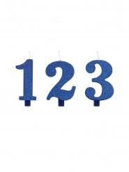 Candela di compleanno numeri blu con brillantini 9,5 cm