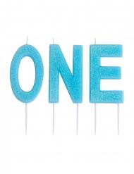 Candele su stuzzicadenti One azzurro con brillantini 9,5 cm
