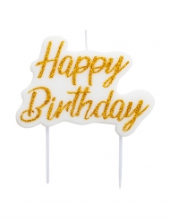 Candelina Happy Birthday bianca e oro