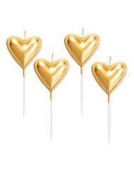 5 Candele su stuzzicadenti cuore dorato metallizzato 8 cm