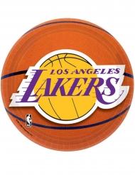 8 Piatti piccoli in cartone Basket NBA Lakers™ 18 cm