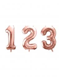 Palloncino con numero  in alluminio oro rosa 86 cm