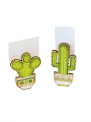 2 Segnaposto in legno cactus