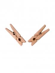 25 Mollette in legno oro rosa