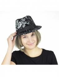 Cappello borsalino con paillettes nere e argentate per adulto