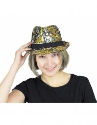 Cappello borsalino con paillettes dorate e argentate per adulto