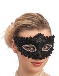 Maschera in plastica con pizzo nero e strass per adulto