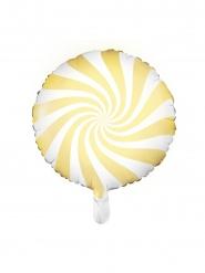 Palloncino in alluminio lecca lecca bianco e giallo 45 cm