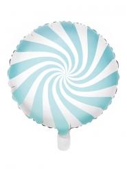 Palloncino lecca lecca in alluminio azzurro e bianco 45 cm