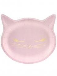 6 Piatti di carta gattino rosa