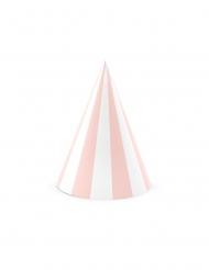 6 Cappelli da festa in cartone rosa e bianchi 10 x 16 cm