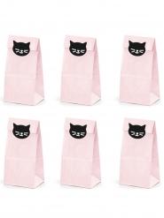 6 Buste regalo in carta gatti rosa 8 x 18 x 6 cm