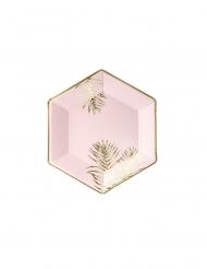 6 Piatti in cartone esagonali rosa tropicale