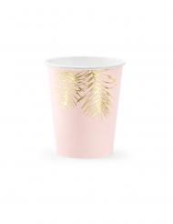 6 Bicchieri in cartone tropical rosa e dorati 220 ml