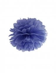 Pompom da appendere in carta blu 35 cm