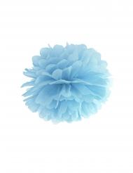 Pompom da appendere in carta azzurro 35 cm