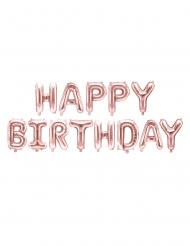 Palloncino alluminio Happy Birthday rosa dorato 340 x 35 cm