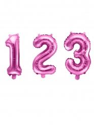 Palloncino alluminio numero rosa 35 cm