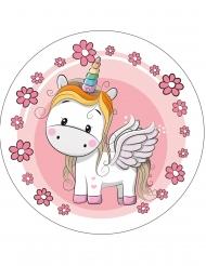 Disco in ostia dolce unicorno 21 cm disegno casuale