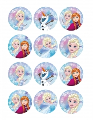 12 decorazioni in ostia per biscotti Frozen™ 6 cm
