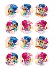 12 decorazioni in zucchero per biscotti Shimmer e Shine™ 6 cm